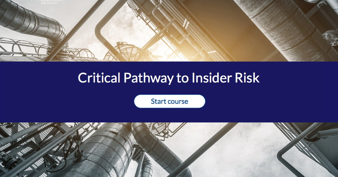Start course Critical Pathway to Insider Risk
